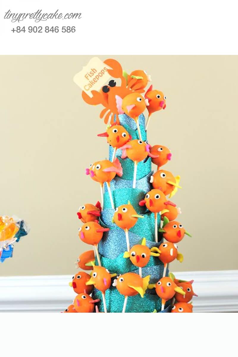 Bánh cakepop cá Nemo trang trí theo hình mũ sinh nhật dành cho các bé