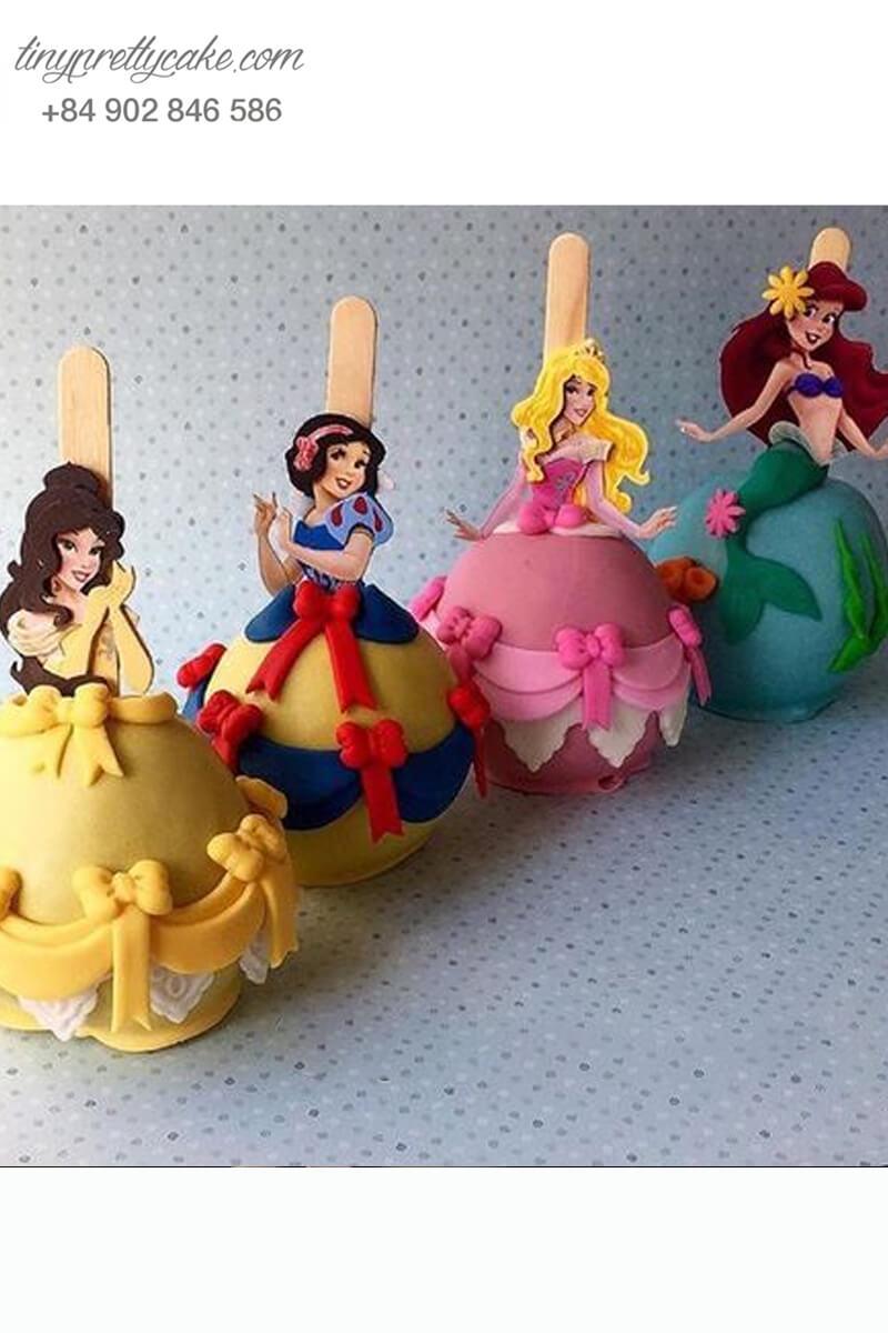 Set 4 bánh cakepop tạo hình nàng công chúa Disney xinh đẹp dành tặng bé gái nhân dịp sinh nhật