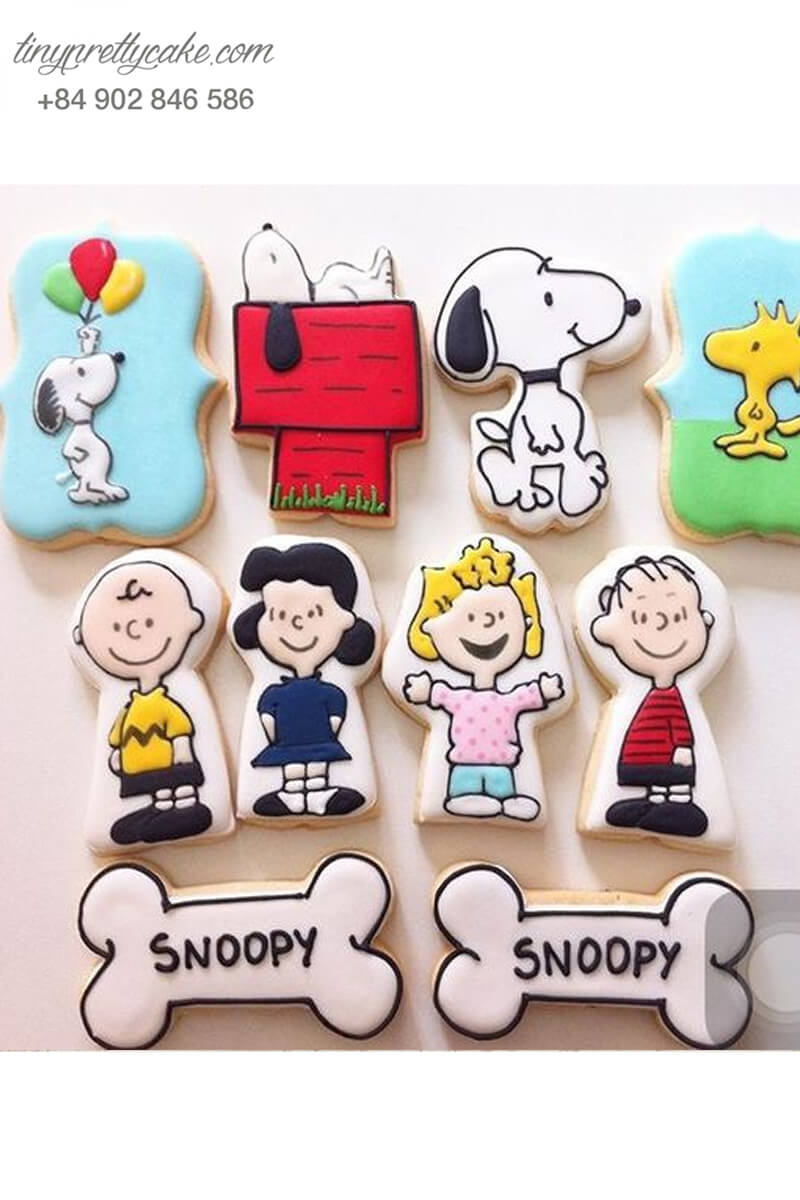 Set 10 Cookie chú chó Snoopy và những người bạn – mừng sinh nhật, thôi nôi cho các bé