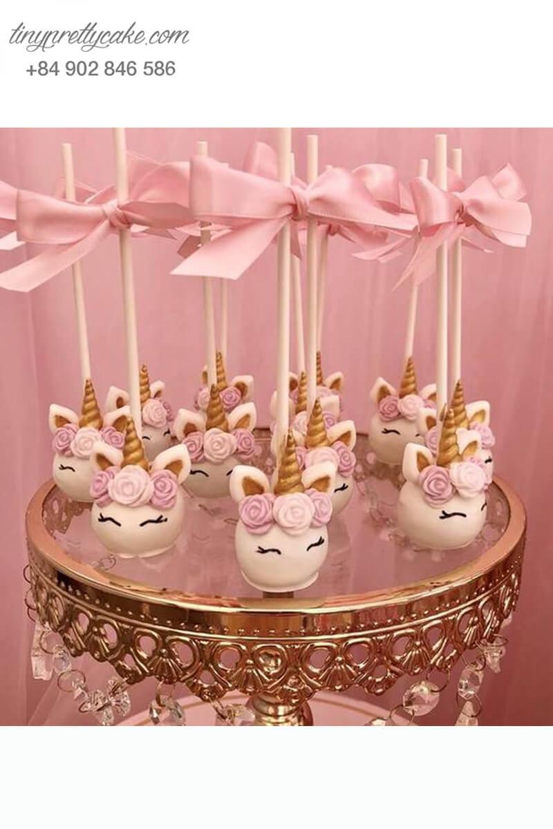 Bánh cakepop hình ngựa Pony Unicorn nơ hồng dễ thương dành tặng bé gái nhân dịp sinh nhật