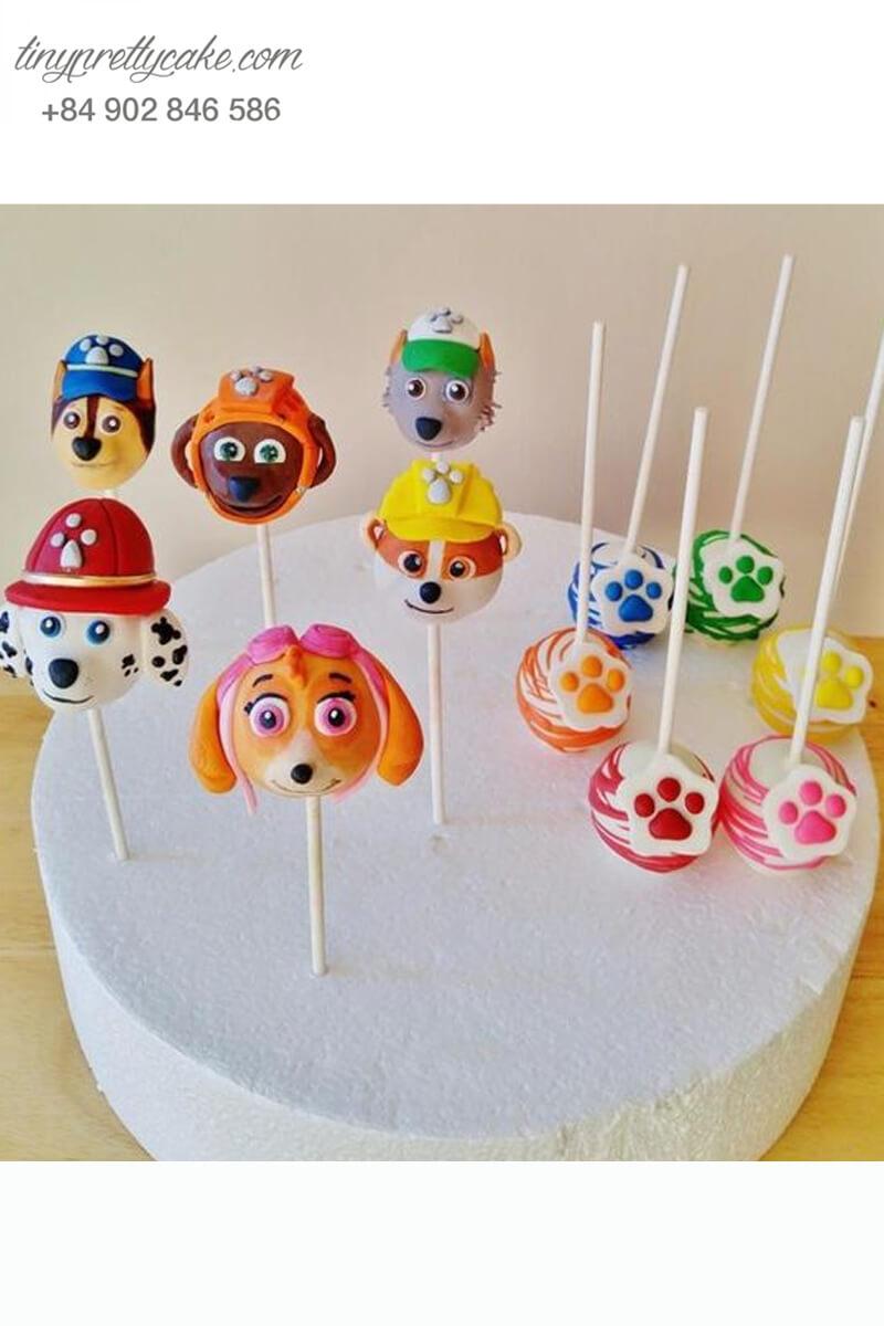 Set 12 bánh cakepop tạo hình chó Paw Patrol sắc màu để trang trí tiệc sinh nhật, thôi nôi cho các bé