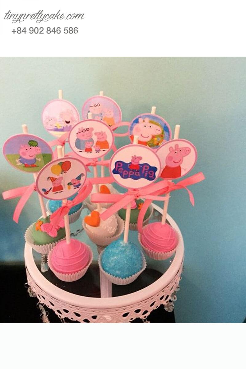 Set 8 bánh cakepop tạo hình chú heo Peppa dễ thương để trang trí tiệc sinh nhật, đầy tháng cho các bé
