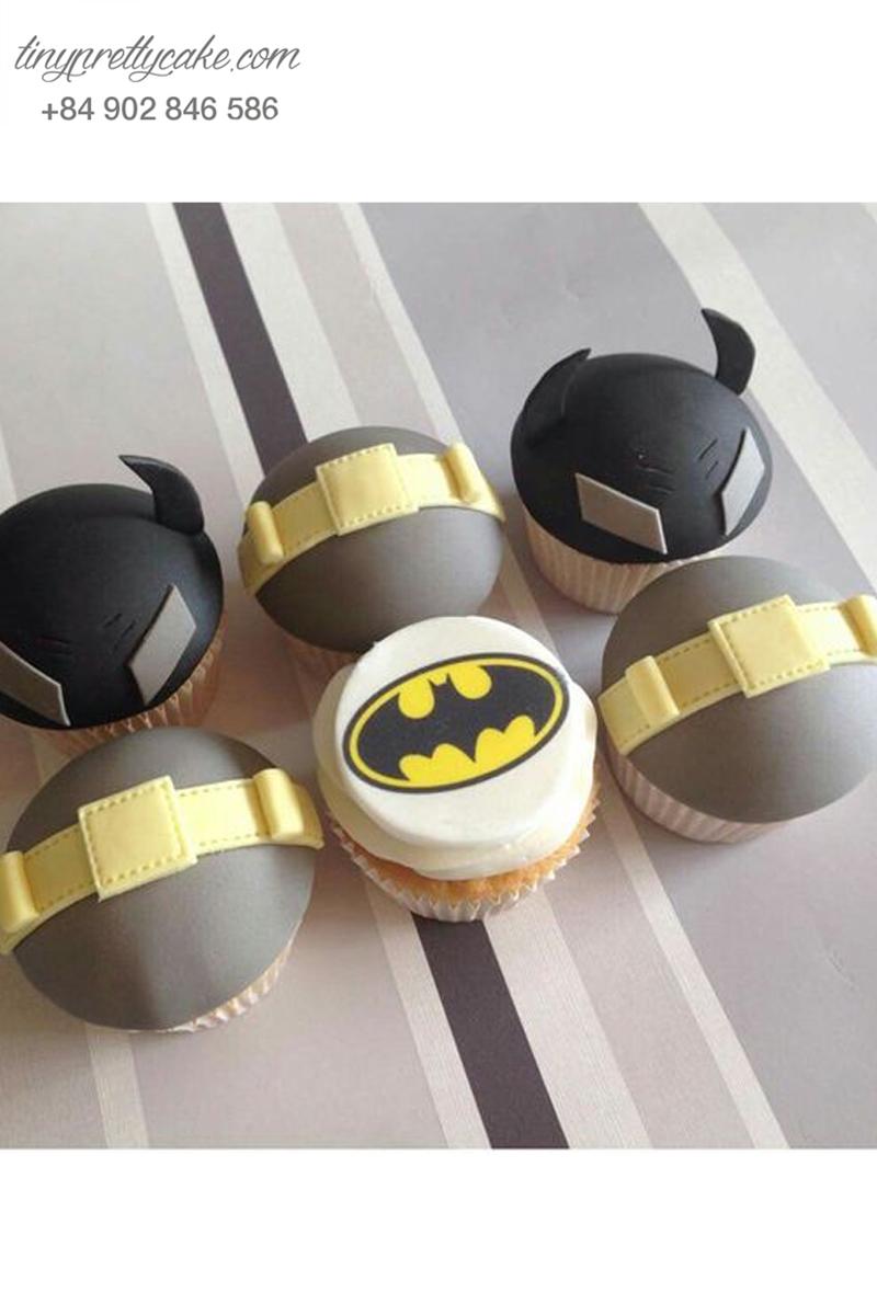 Set 6 cupcake logo hình Batman mừng sinh nhật các bé