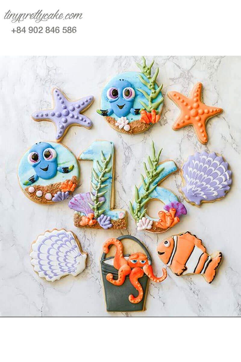 bánh cookie sinh nhật chủ đề cá Nemo
