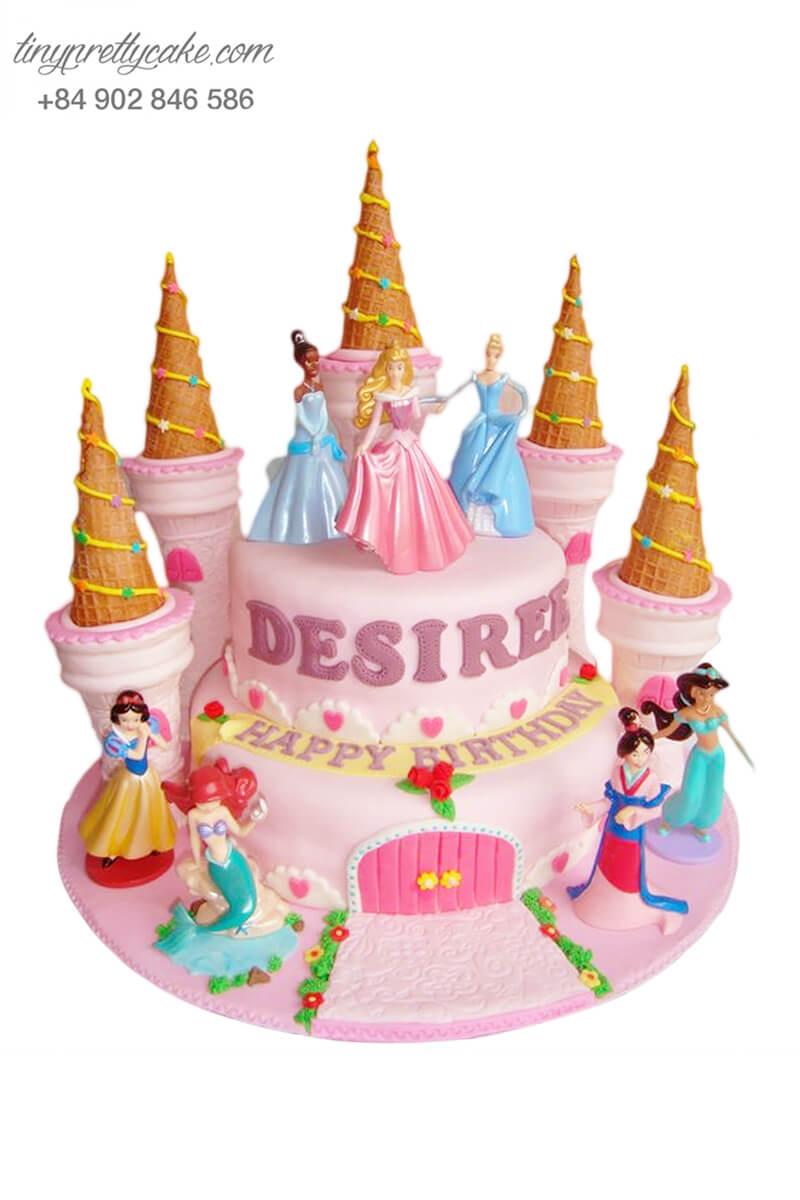 Bánh sinh nhật hai tầng tạo hình lâu đài công chúa Disney tráng lệ cho bé gái (BF1172)