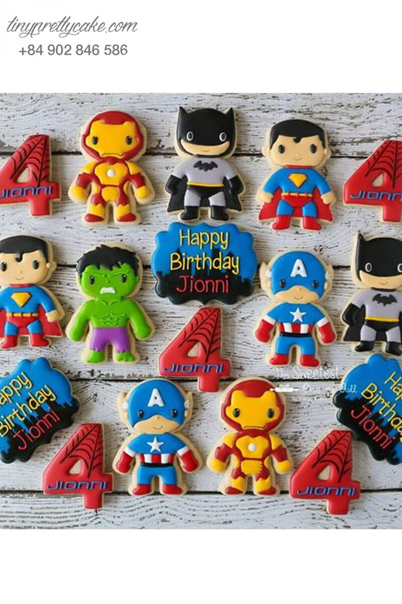 Set 17 Cookie siêu anh hùng Avenger cực đáng yêu, mừng sinh nhật bé trai