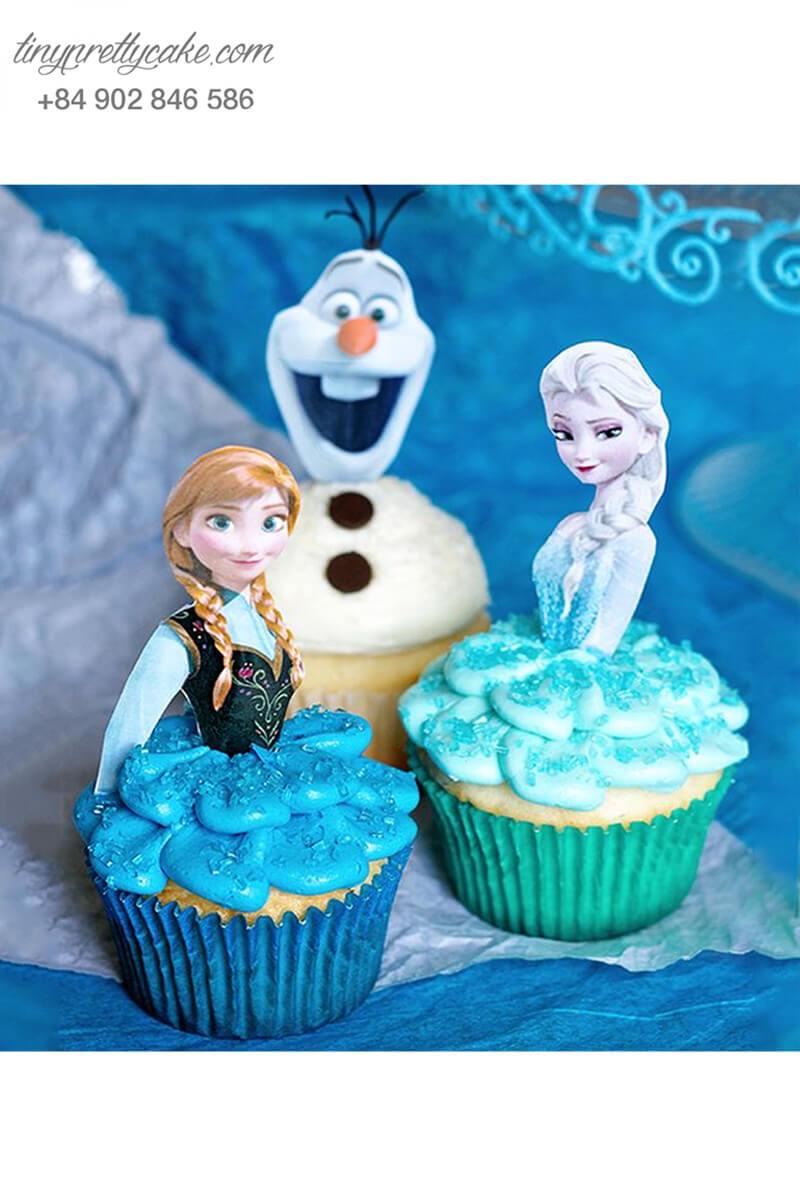 Set 3 Cupcake nhân vật Frozen mừng sinh nhật các bé gái