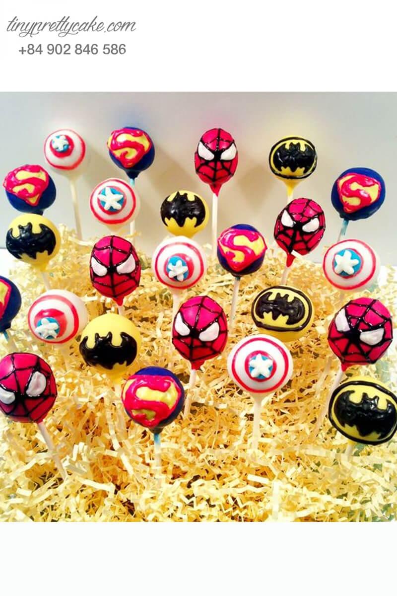Set 24 bánh cakepop tạo hình các siêu anh hùng Avenger cực chất dành cho các bé trai ngày sinh nhật