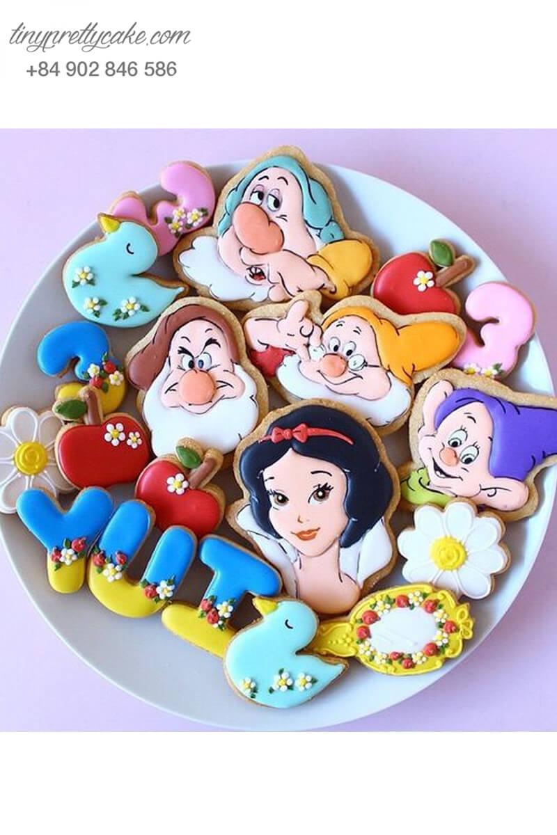 Set 14 Cookie hình Bạch tuyết và Bảy chú lùn - mừng sinh nhật bé gái