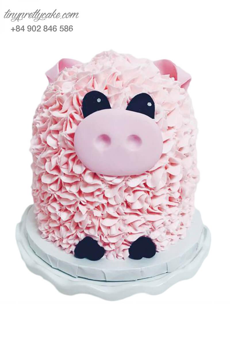 Gato bé heo điệu đà được tạo hình theo nét bông hoa, mừng sinh nhật, đầy tháng bé gái