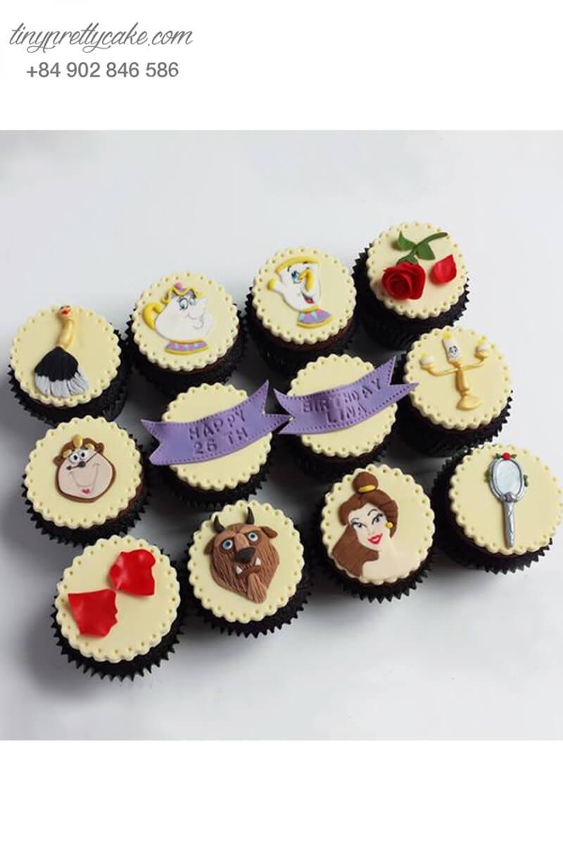 Set 12 Cupcake nhân vật hoạt hình Beauty and the beast mừng sinh nhật các bé gái
