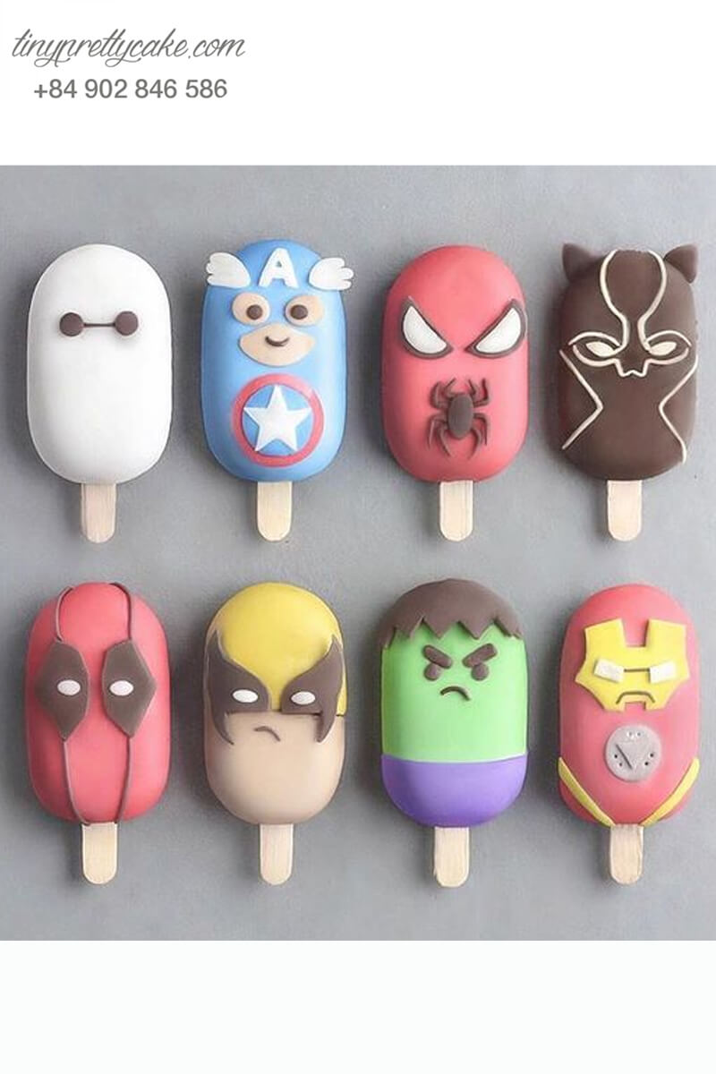 Set 8 bánh cakepop tạo hình cây kem các siêu anh hùng Avenger cực chất dành cho các bé trai ngày sinh nhật