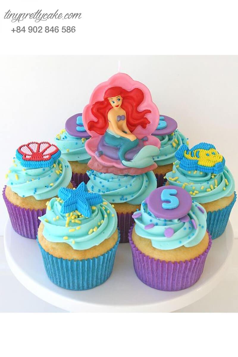 Set 7 Cupcake nàng tiên cá và những người bạn mừng sinh nhật các bé gái