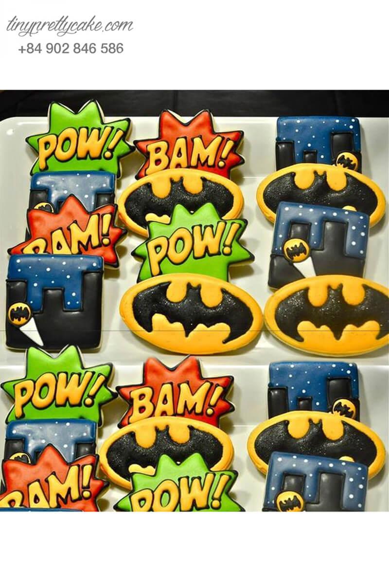 Set 9 Cookie biểu tượng siêu anh hùng Batman ngộ nghĩnh - mừng sinh nhật bé trai