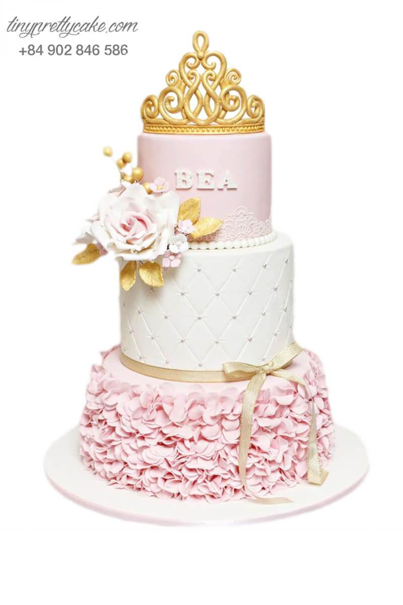 Bánh sinh nhật ba tầng tạo hình vương miện công chúa hoa dễ thương cho bé gái (BF1154)