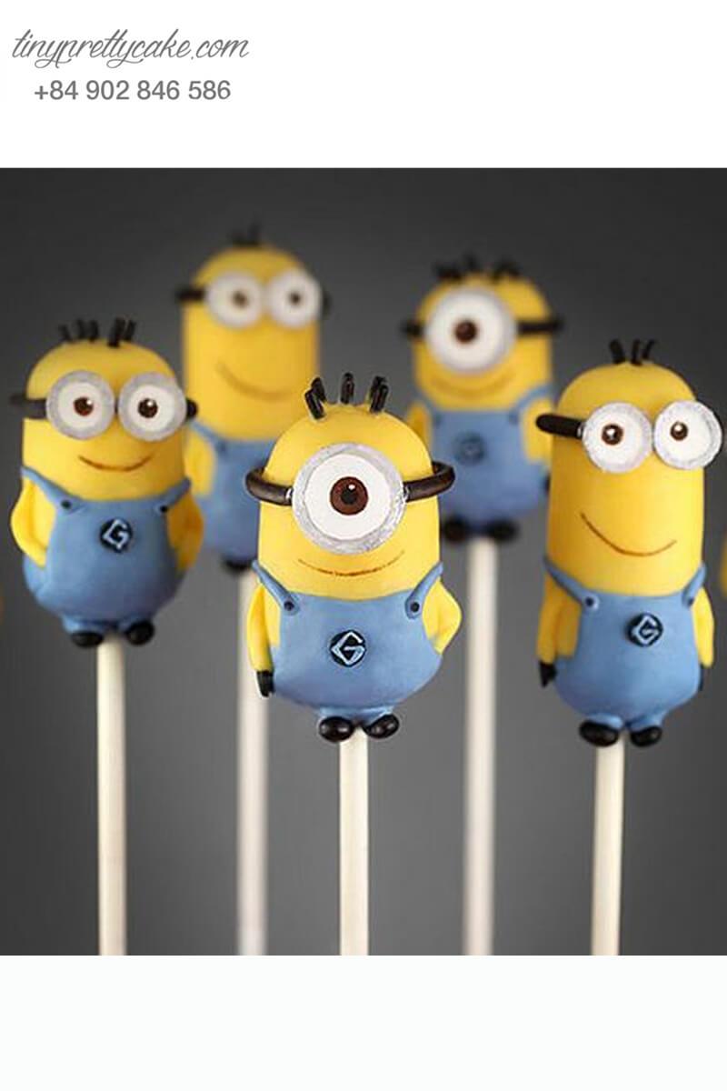 Set 5 bánh cakepop tạo hình Minion dễ thương để trang trí tiệc sinh nhật cho các bé
