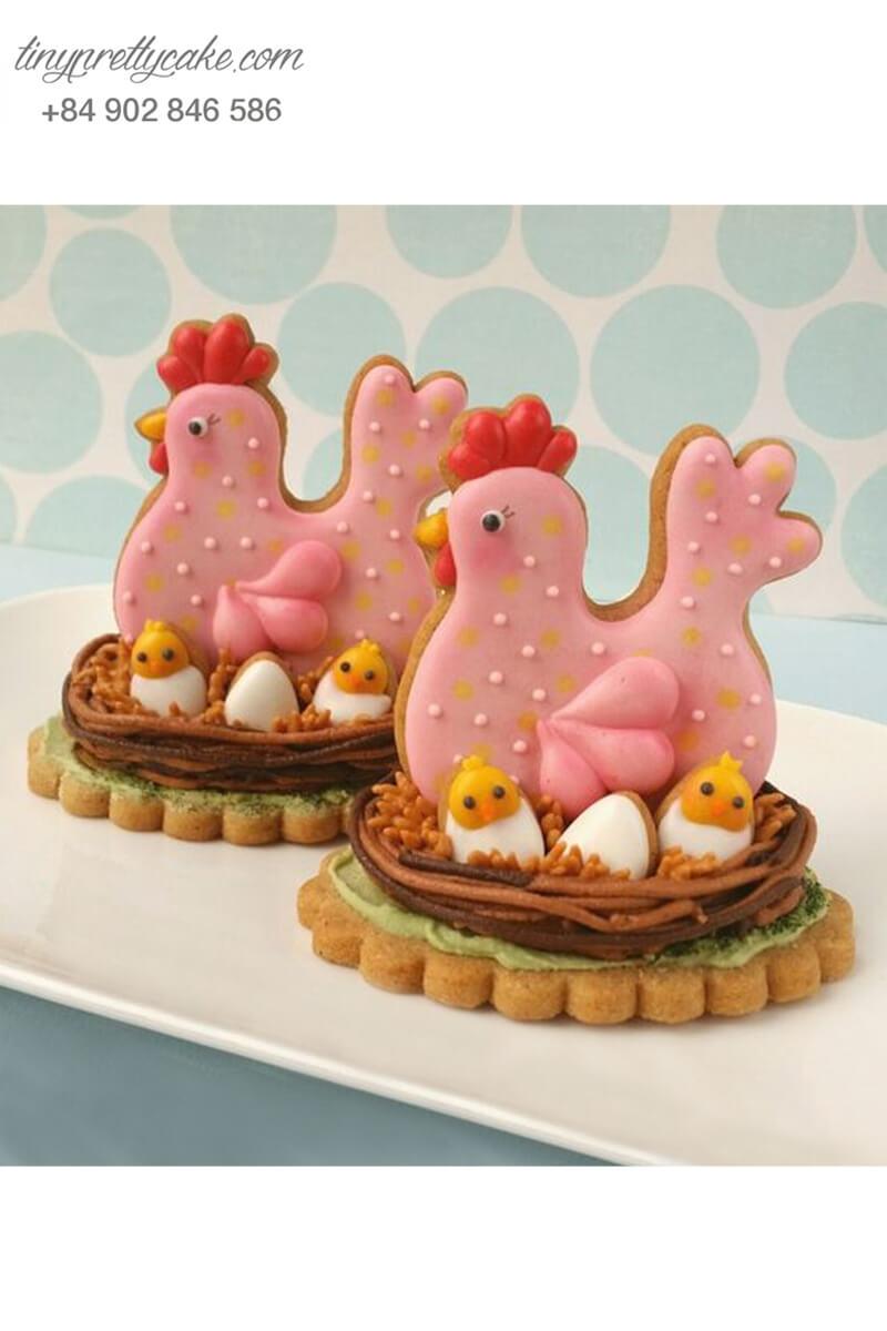 Cookie gà hồng dễ thương – mừng sinh nhật, đầy tháng bé gái