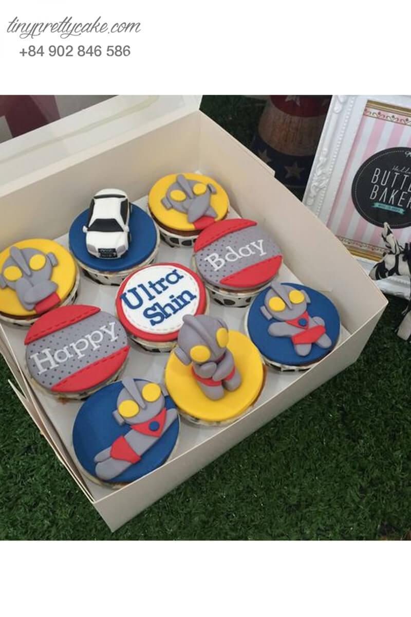 Set 9 cupcake siêu nhân mới lạ mừng sinh nhật các bé trai