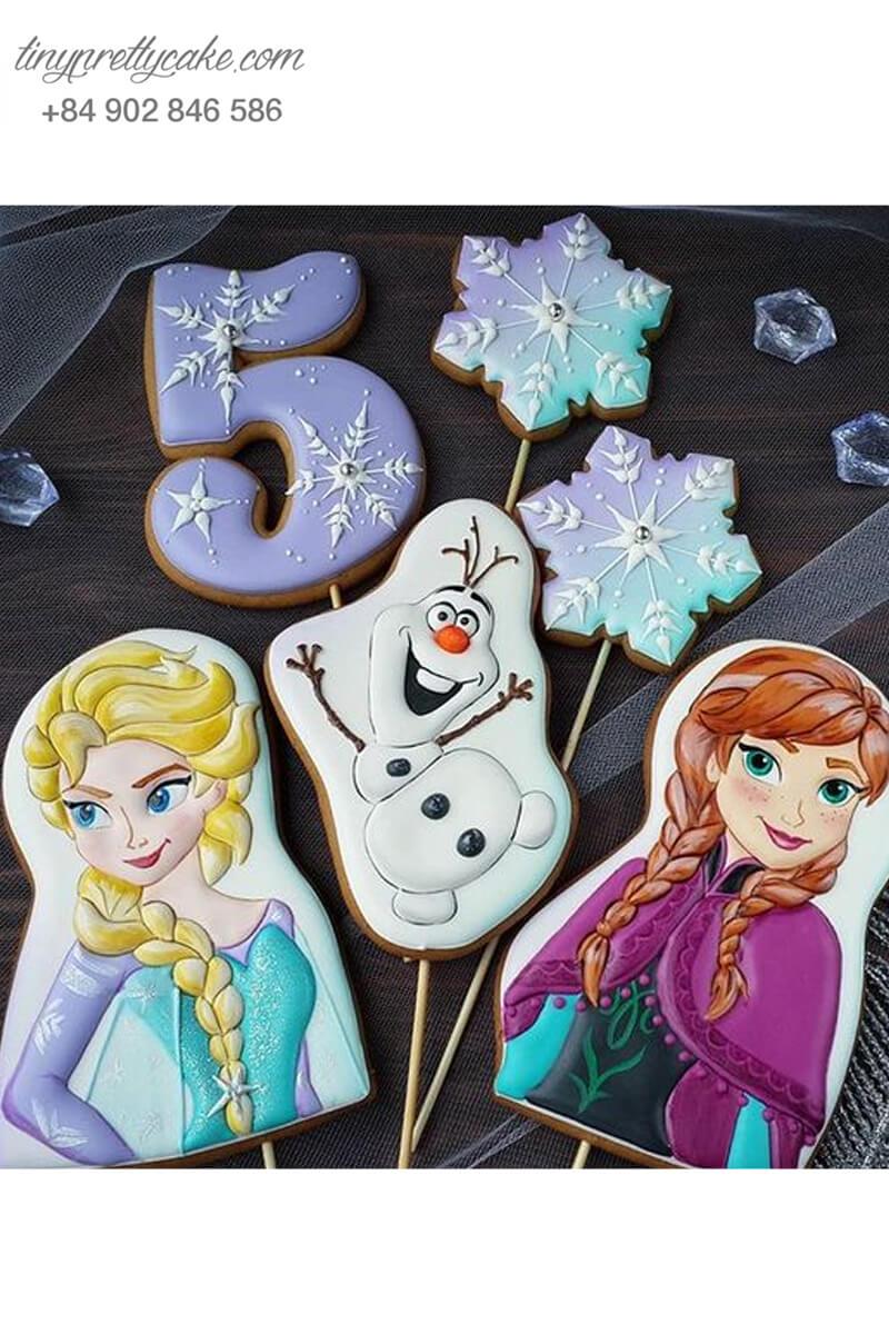 Set 6 Cookie hình Elsa & Anna và cậu bé tuyết - mừng sinh nhật bé gái