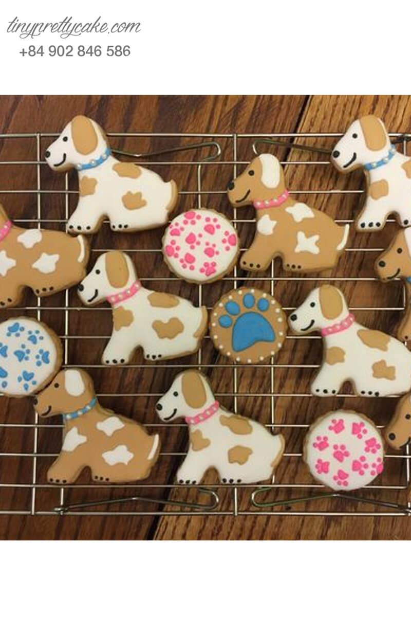Set 14 Cookie hình chú chó đốm nâu dễ thương – mừng sinh nhật, thôi nôi cho các bé