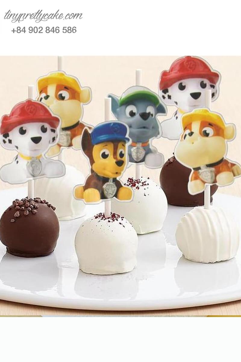 Set 6 Bánh cakepop tạo hình chó Paw Patrol ngộ nghĩnh để trang trí tiệc sinh nhật, thôi nôi cho các bé