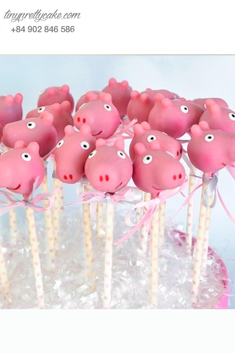 Bánh cakepop tạo hình chú heo Peppa hồng siêu yêu để trang trí tiệc sinh nhật, đầy tháng cho các bé