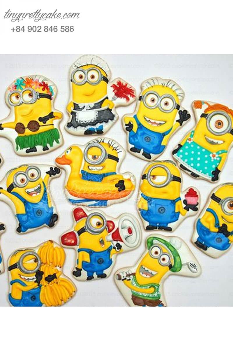 Set 13 cookie hình Minion cực dễ thương và sắc màu mừng sinh nhật cho các bé