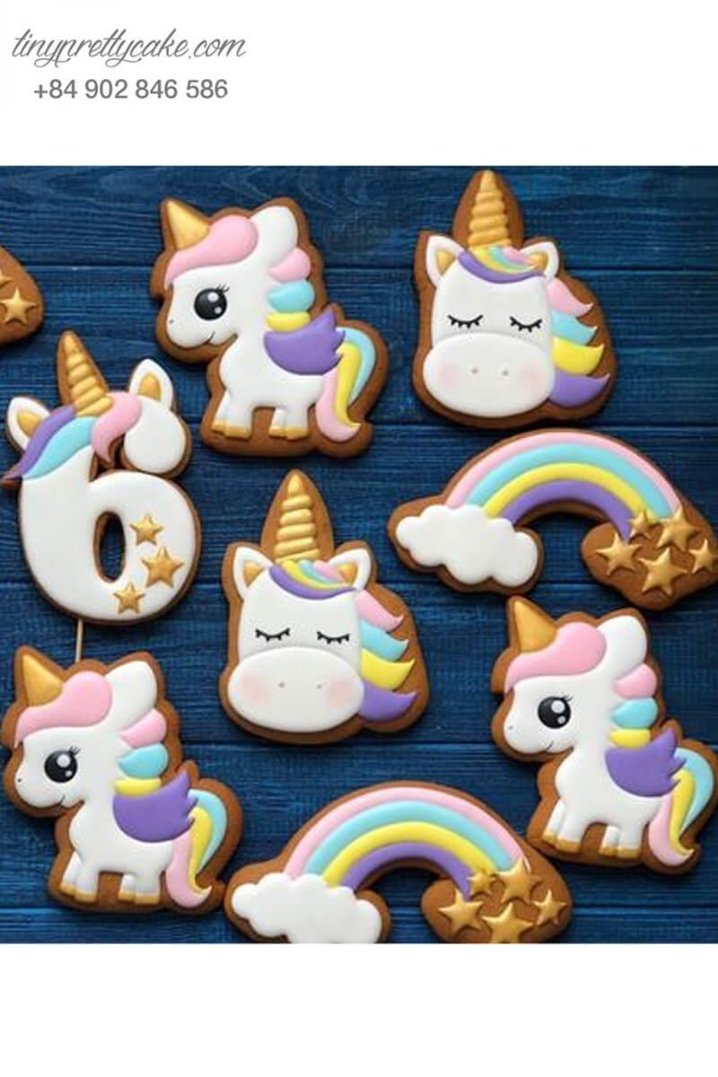Set 11 Cookie tạo hình Unicorn cầu vồng dễ thương - mừng sinh nhật cho bé gái.