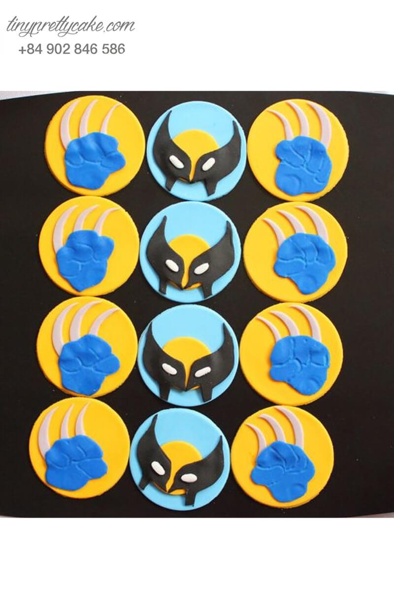 Set 12 Cupcake Wolverine với bộ móng vuốt đặc trưng mừng sinh nhật bé trai mạnh mẽ