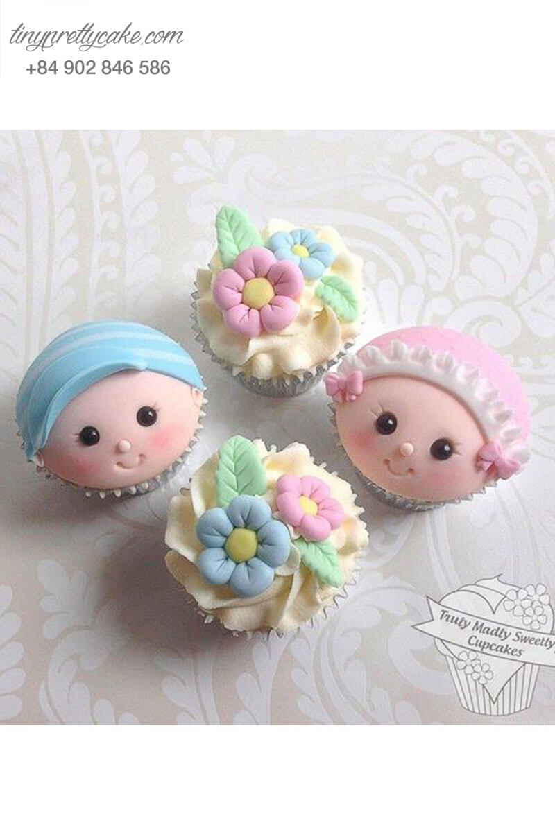 Set 4 Cupcake hình em bé và bông hoa xinh xắn mừng sinh nhật các bé
