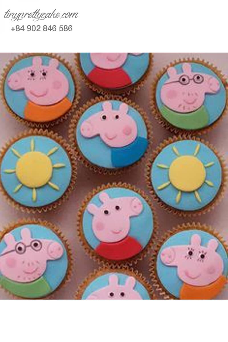 Set 10 Cupcake chú heo Peppa đáng yêu mừng sinh nhật, đầy tháng các bé