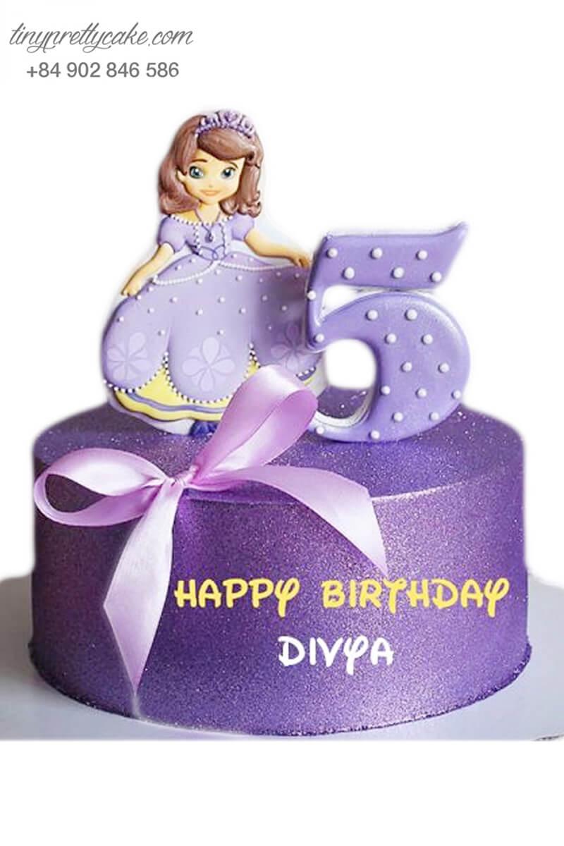 bánh sinh nhật màu tím công chúa nhỏ