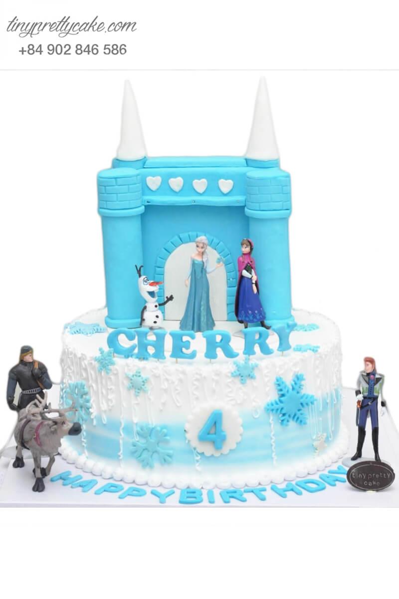 Bánh sinh nhật tạo hình lâu đài công chúa Elsa cực chất cho bé gái (BC3692)