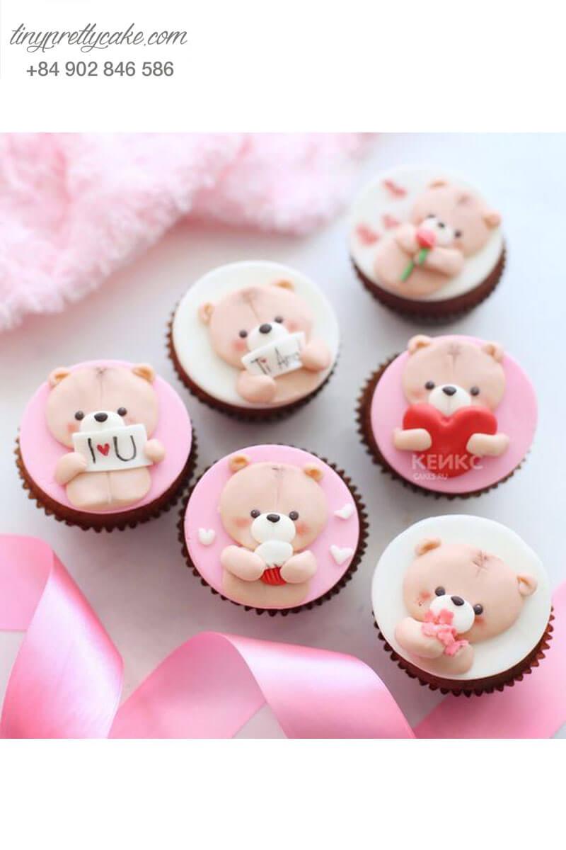 Set 5 cupcake hình gấu vui vẻ mừng sinh nhật hoặc Lễ tình nhân Valentine