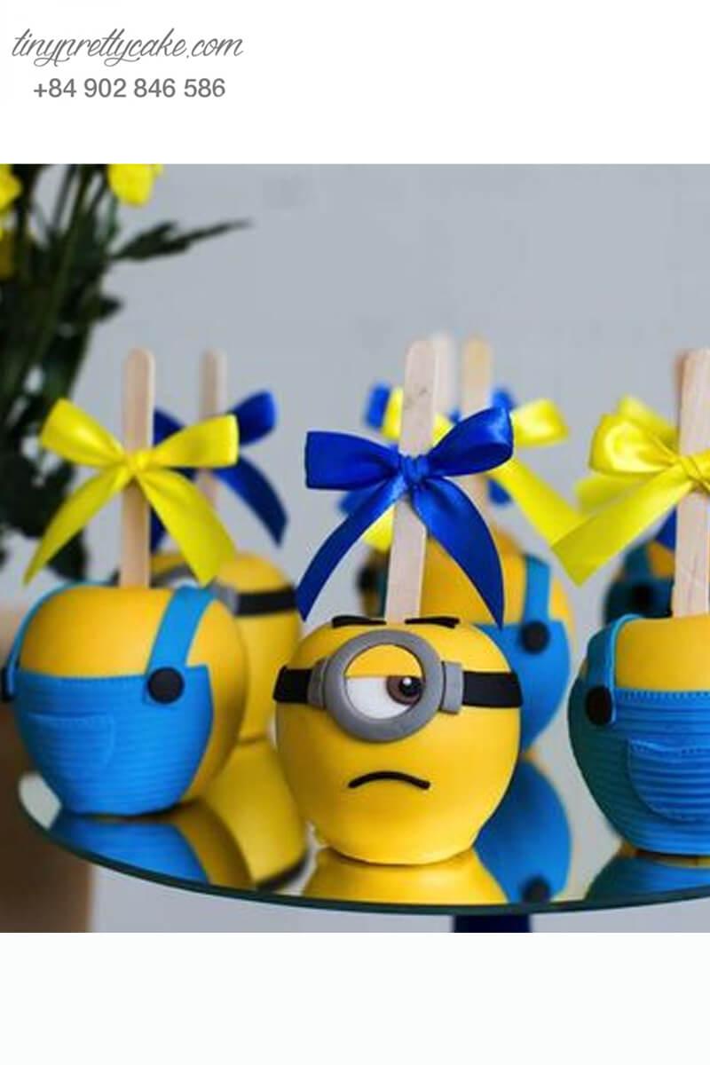 Set 8 bánh cakepop tạo hình Minion dễ thương để trang trí tiệc sinh nhật cho các bé