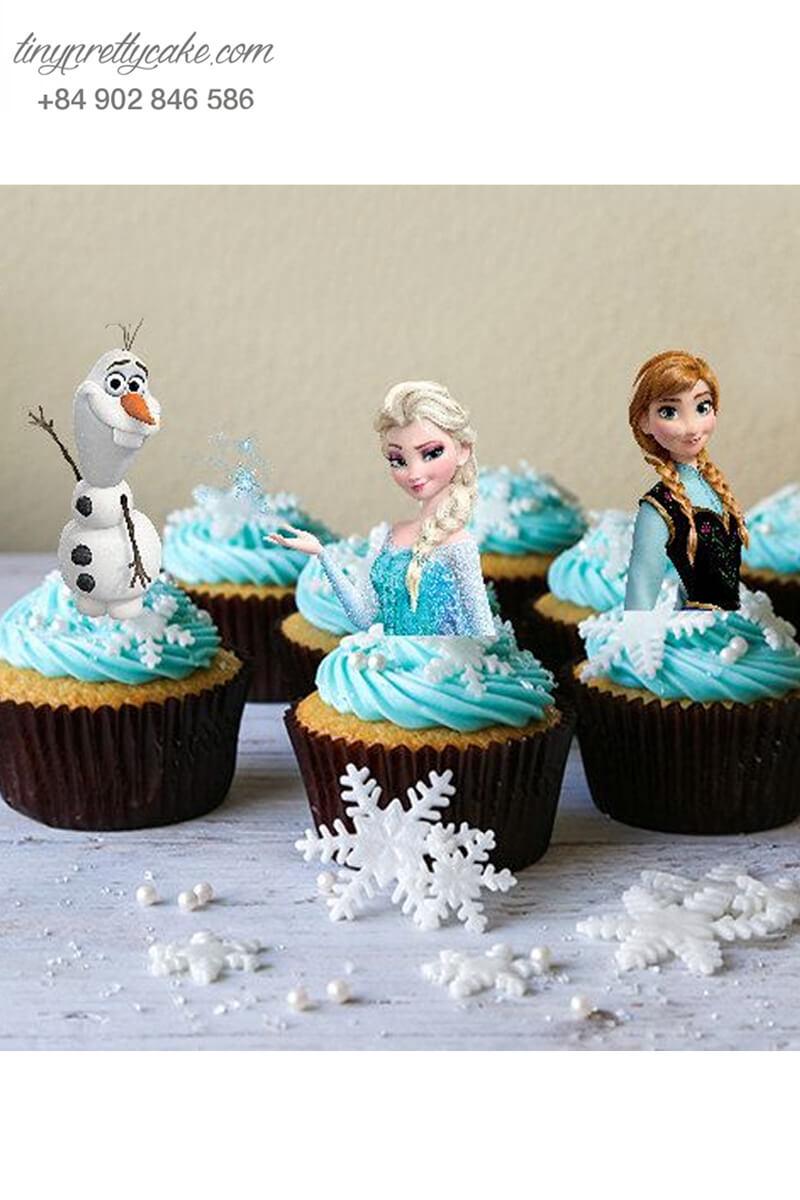 Set 9 bánh cupcake nữ hoàng băng giá và những người bạn vui nhộn mừng sinh nhật bé gái