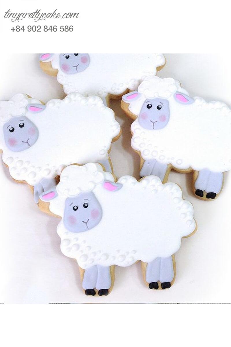 cookie, fondant, con cừu, màu xanh, pastel, bé gái, bé trai, sinh nhật, đáng yêu