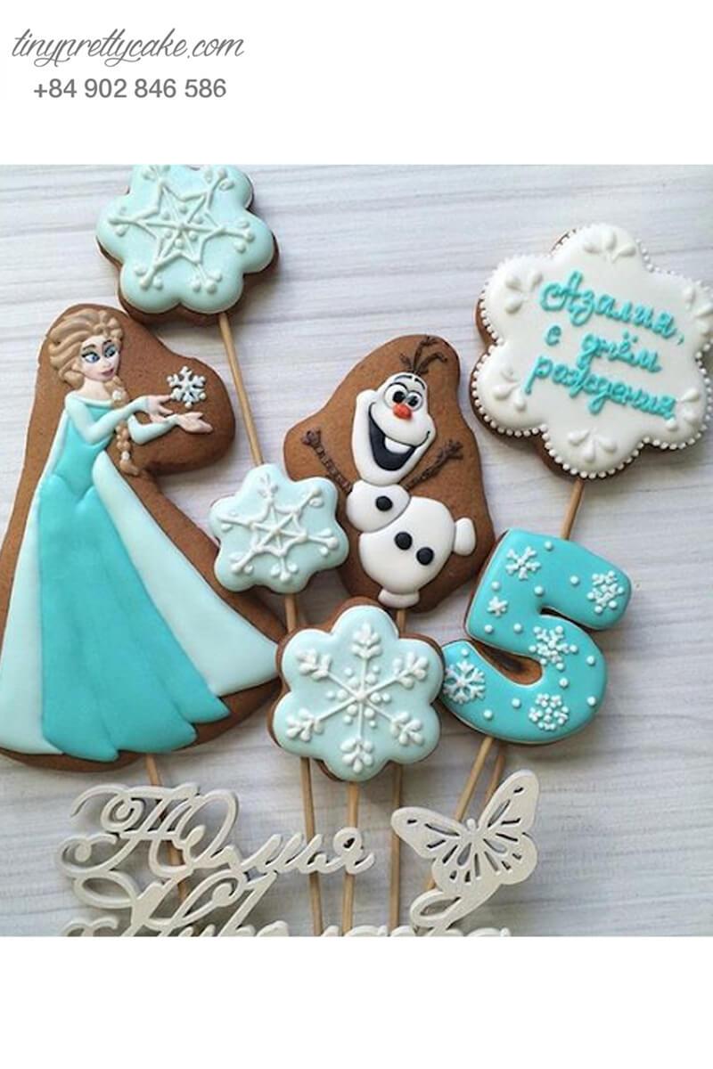 Set 7 Cookie công chúa Elsa xinh đẹp - mừng sinh nhật bé gái
