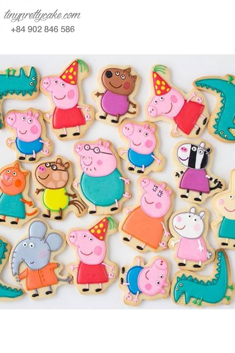 Set 20 cookie heo Peppa Pig cùng những người bạn - mừng sinh nhật, đầy tháng cho các bé