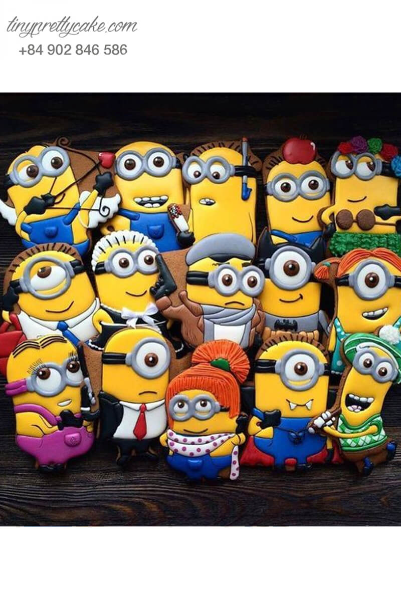 Set 15 cookie Minion chiến binh mạnh mẽ đáng yêu , mừng sinh nhật, thôi nôi các bé