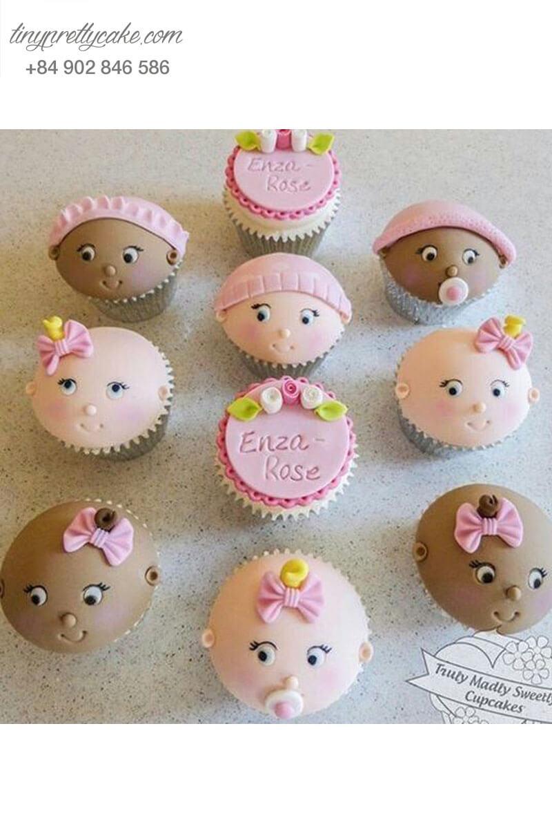 Set 10 Cupcake em bé đáng yêu với nhiều biểu cảm mừng sinh nhật các bé