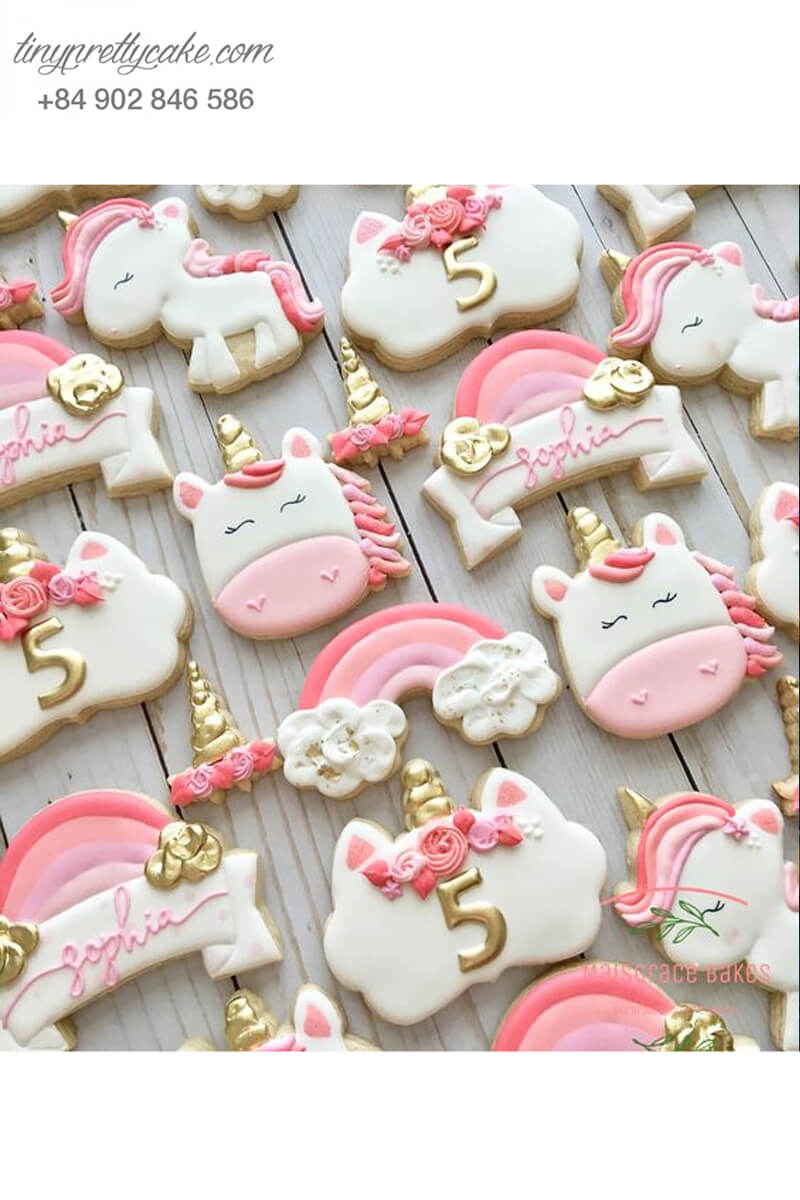 Set 12 Cookie hình Unicorn ngọt ngào - mừng sinh nhật cho bé gái