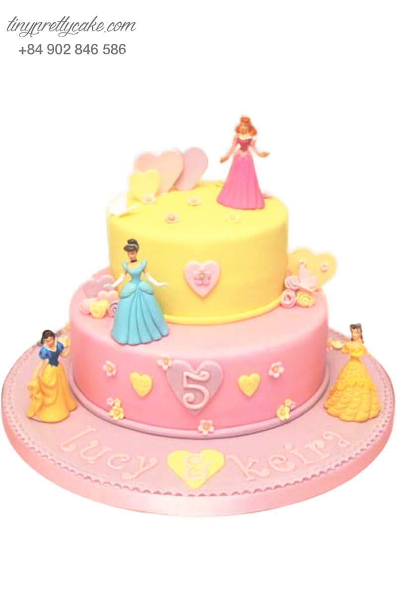 Bánh sinh nhật hai tầng tạo hình công chúa DISNEY siêu dễ thương cho bé gái (BF1153)