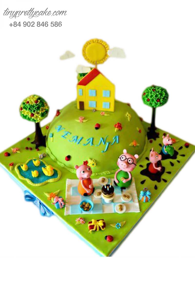 Gato tạo hình khu vườn xanh mát của gia đình chú heo, mừng sinh nhật, đầy tháng cho các bé