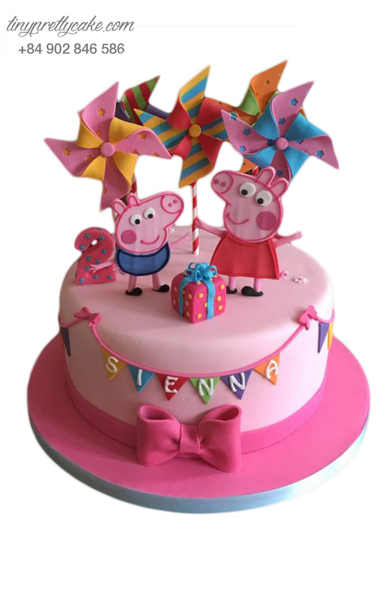 Bánh gato chú heo Peppa cùng với chong chóng siêu dễ thương, mừng sinh nhật, đầy tháng bé gái