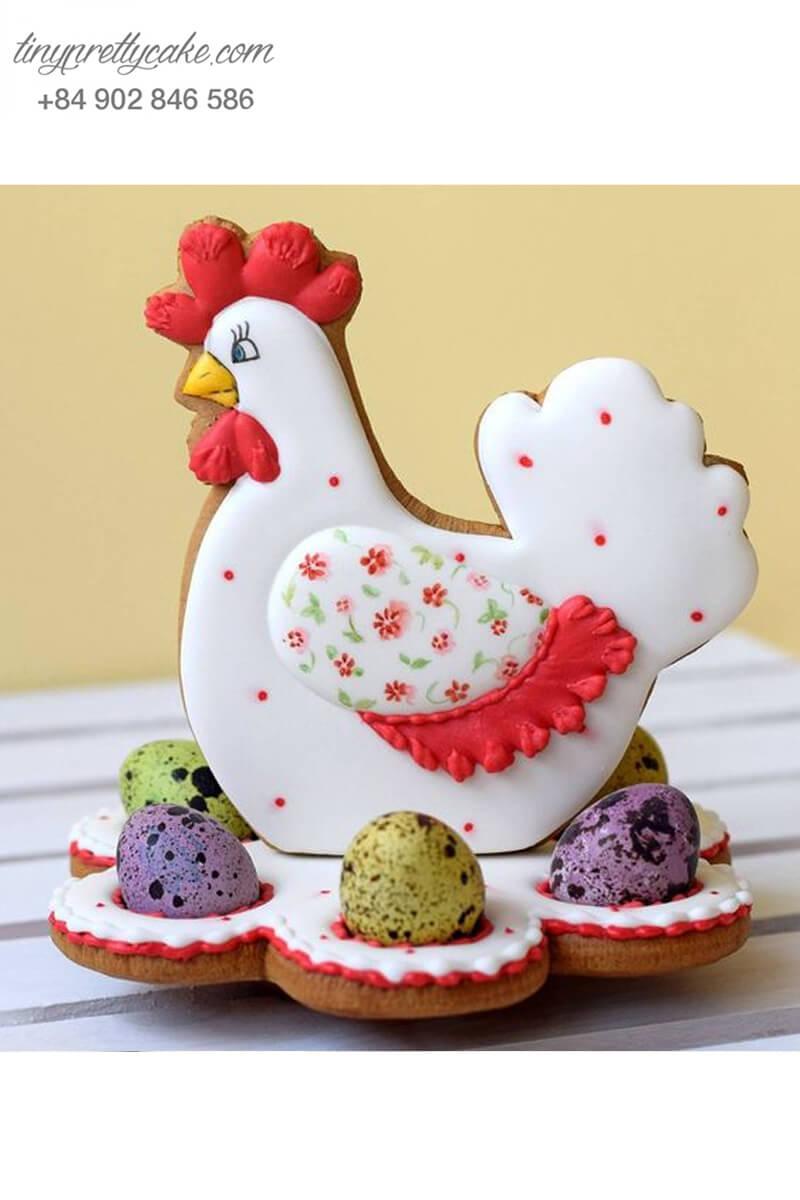 Set 5 Cookie gà hoa và trứng cút đa sắc màu – mừng sinh nhật, đầy tháng bé gái