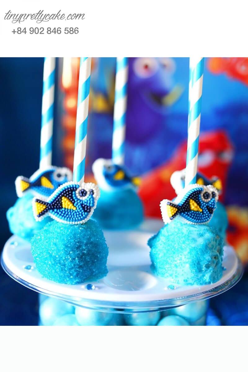 Bánh cakepop bông gòn hình cá Dory dễ thương mừng sinh nhật các bé