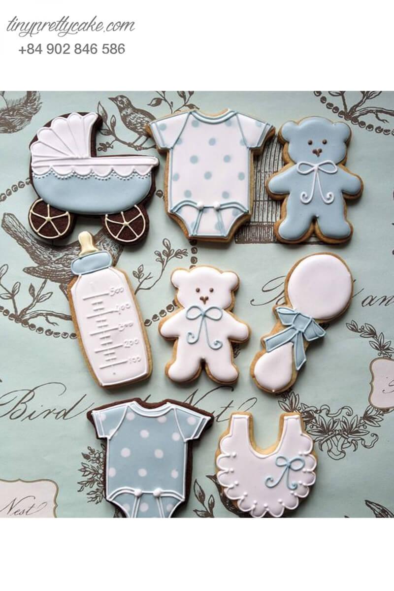 Set 8 Cookie tạo hình vật dụng em bé và teddy - mừng sinh nhật, thôi nôi cho bé gái, bé trai