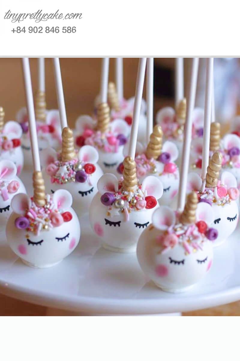 cakepop hình ngựa Unicorn sừng vàng