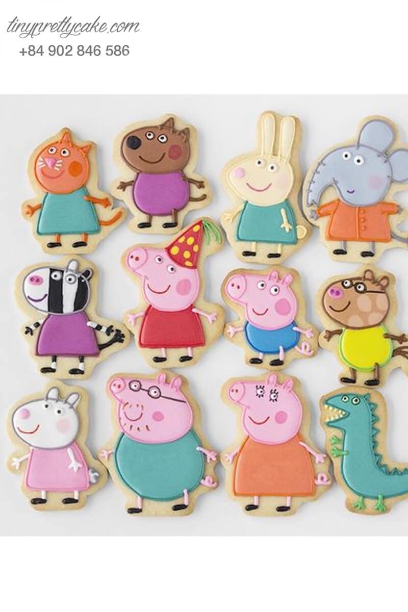 Set 12 cookie heo Peppa Pig và những người bạn - mừng sinh nhật, đầy tháng cho các bé.